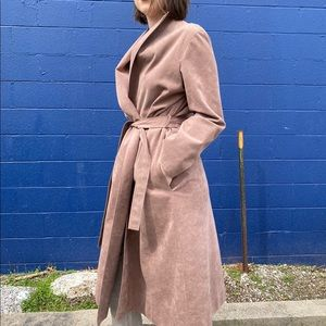 Light brown faux suede belted trench